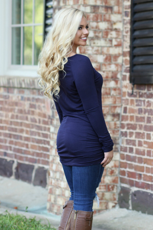 Side-Cinched Tunic: Navy