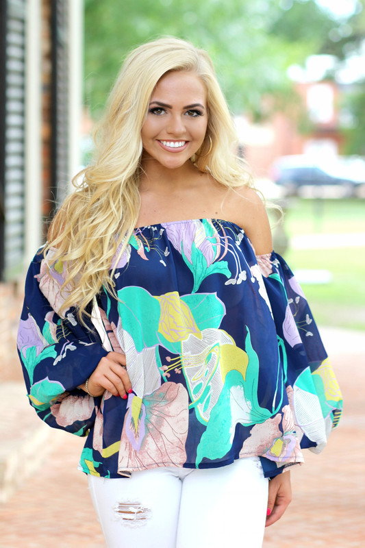 Paradise Off The Shoulder Top: Navy/Multi