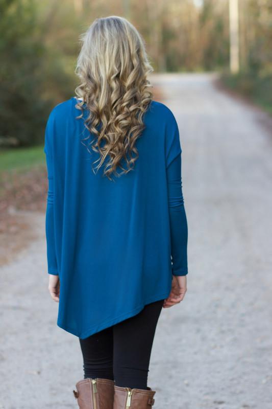 Asymmetrical Days Tunic: Blue