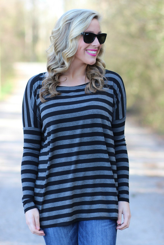 Piko Long Sleeve Top: Black/Gray