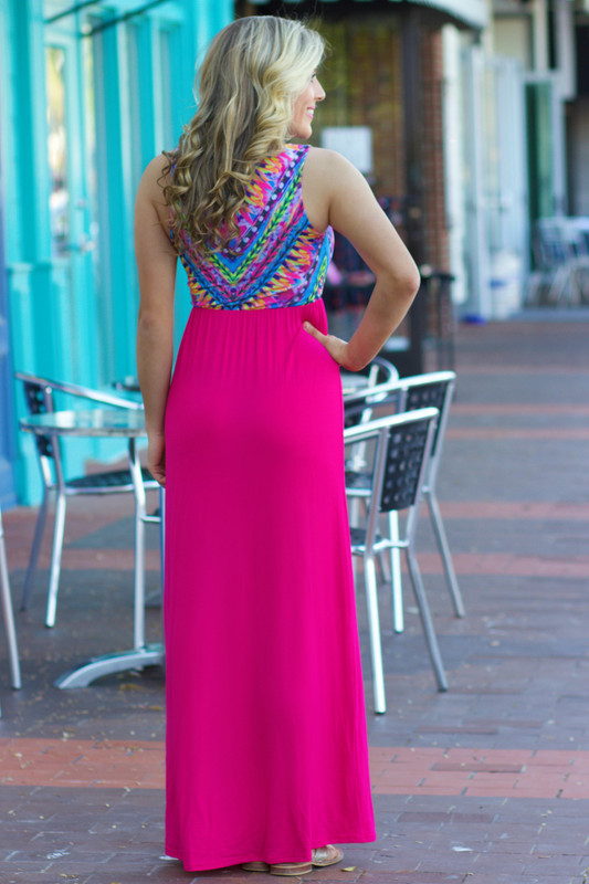 Splash Of Color Maxi Dress: Pink