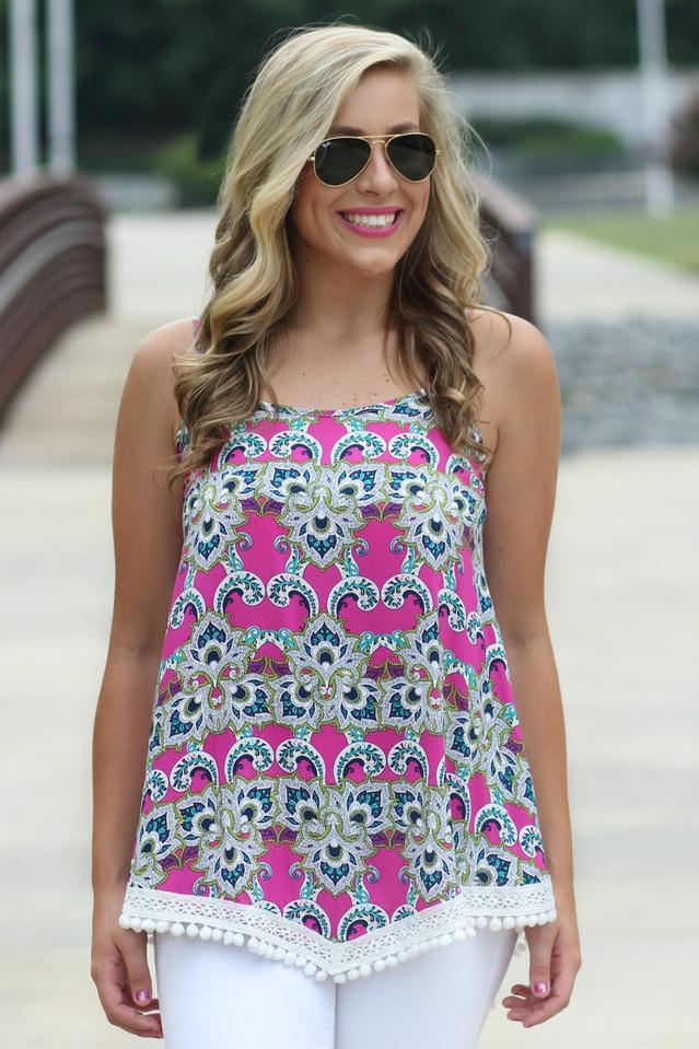 Best online women's boutique | Pom Pom Tank Top | Lavish Boutique
