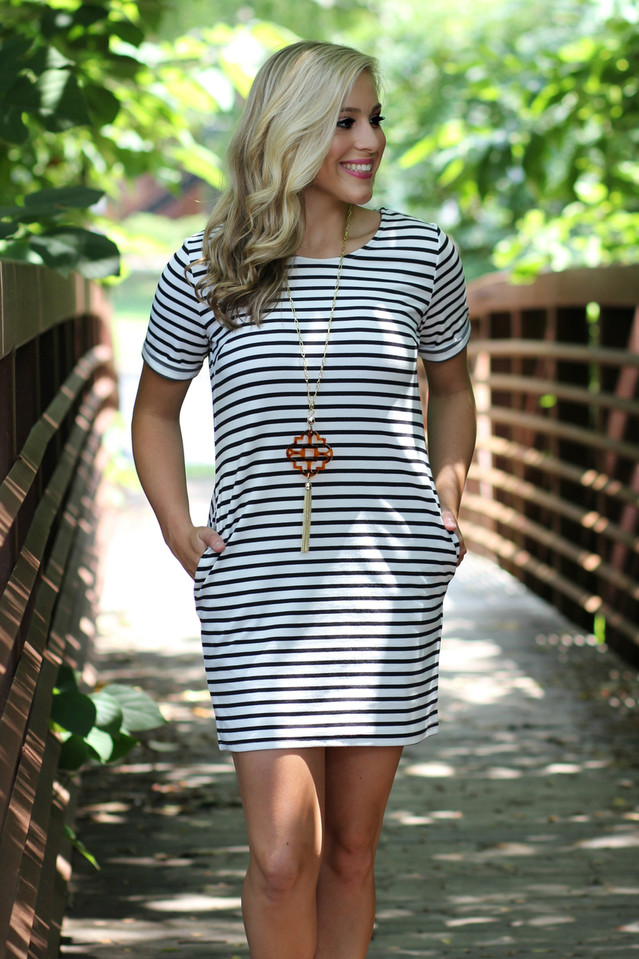 Boardwalk Striped Shift Dress: Ivory/Navy