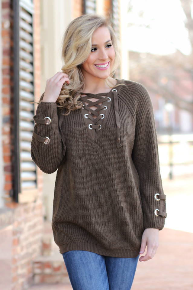Tied Up With You Sweater: Olive