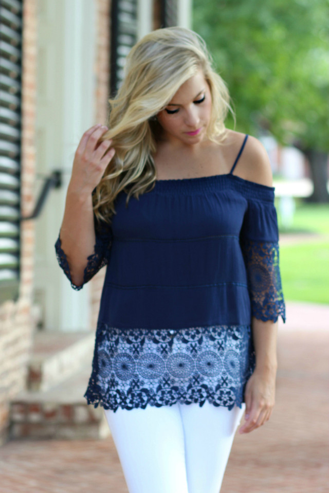 Cute As A Button Cold Shoulder Top: Navy