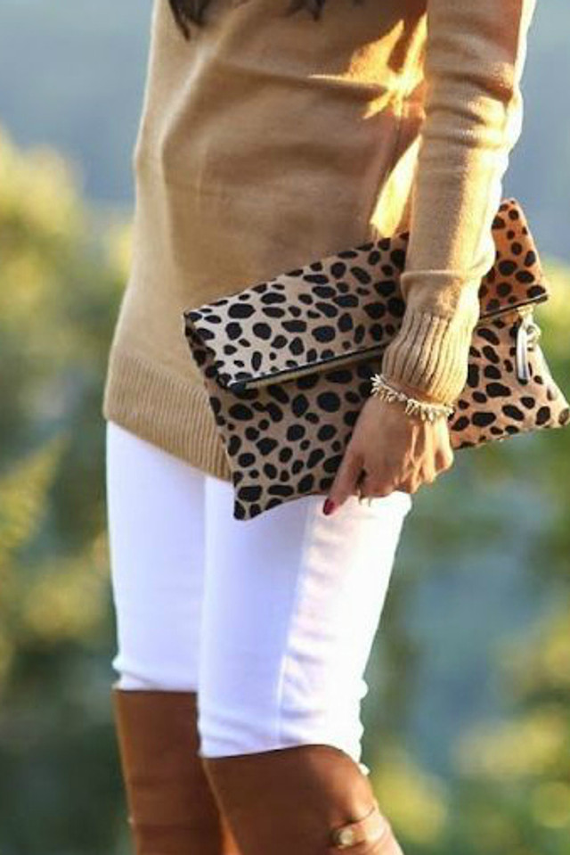Fold-Over Leopard Clutch