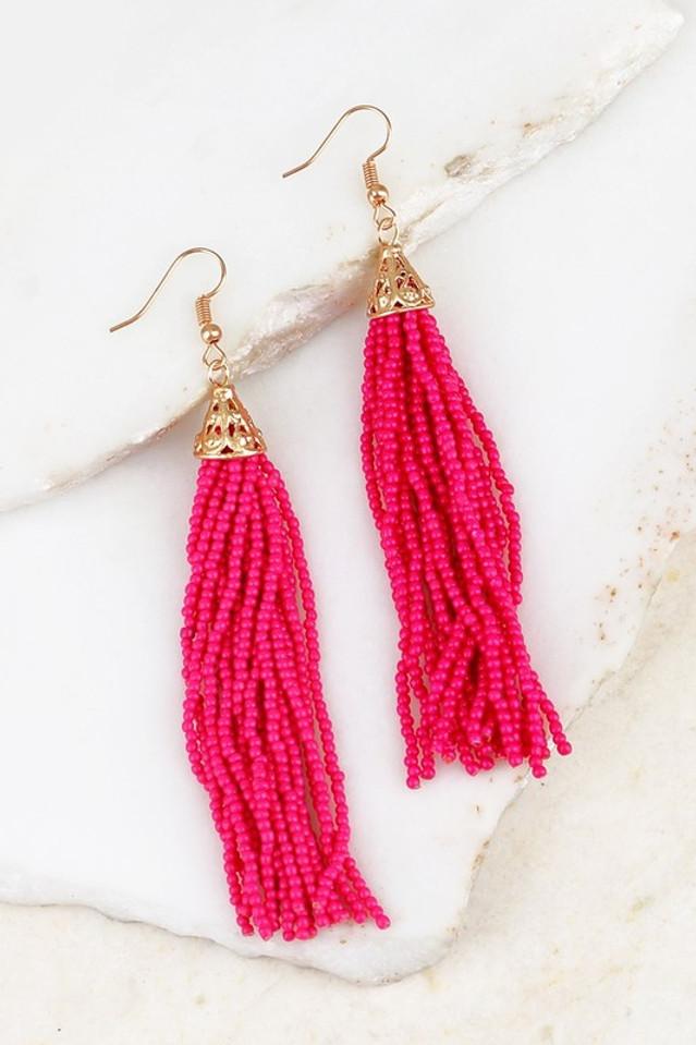 Oh La La Tassel Earrings: Fuchsia
