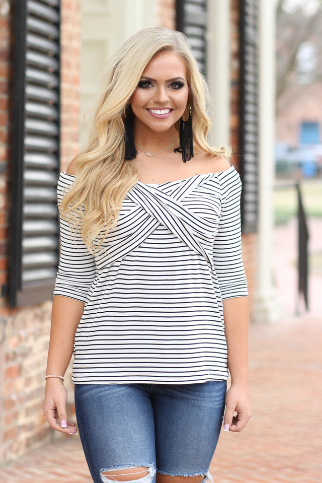 Sail With Me Striped Top: Black/Ivory