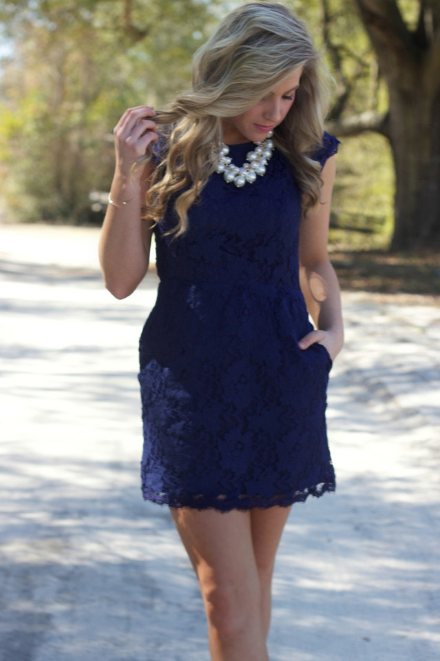 High Expectations Dress: Navy