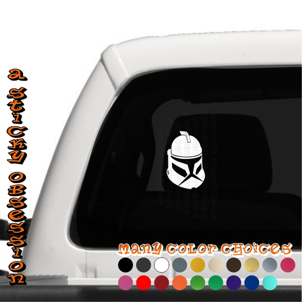 Star wars inspired phase 1 clone trooper helmet decal
