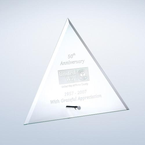 JADE GLASS BEVELED TRIANGLE W/ ALUMINUM POLE,  3 sizes available