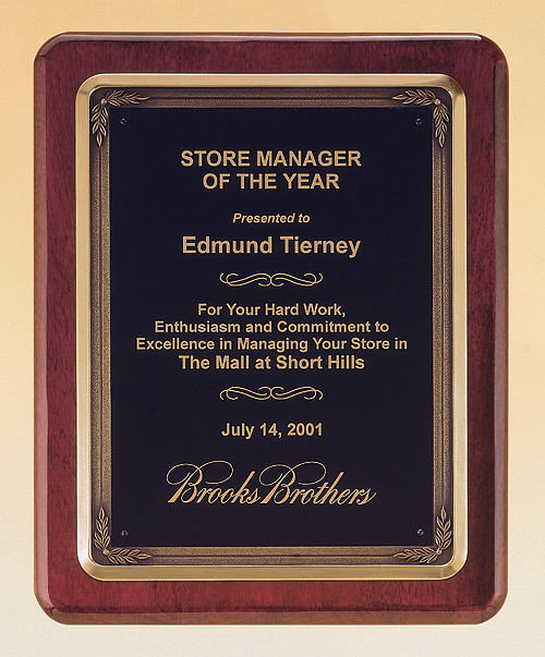 Rosewood Piano-Finish Recognition Award Plaque with Antique Bronze Frame Casting, Laser engraved