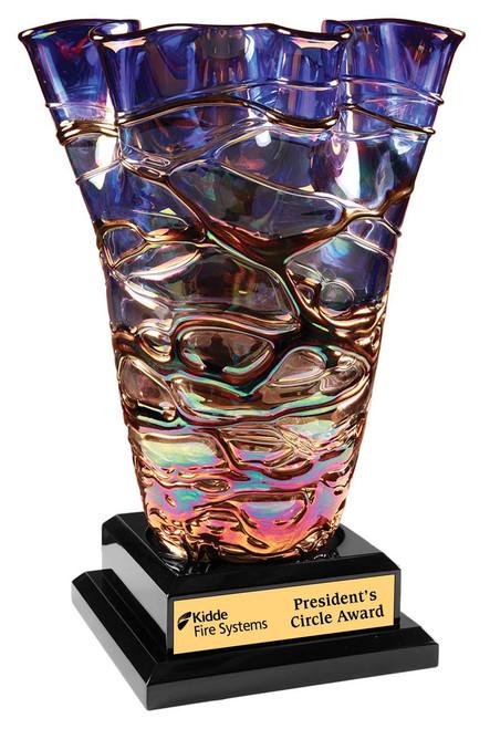 Fury Art Glass Vase Award with base