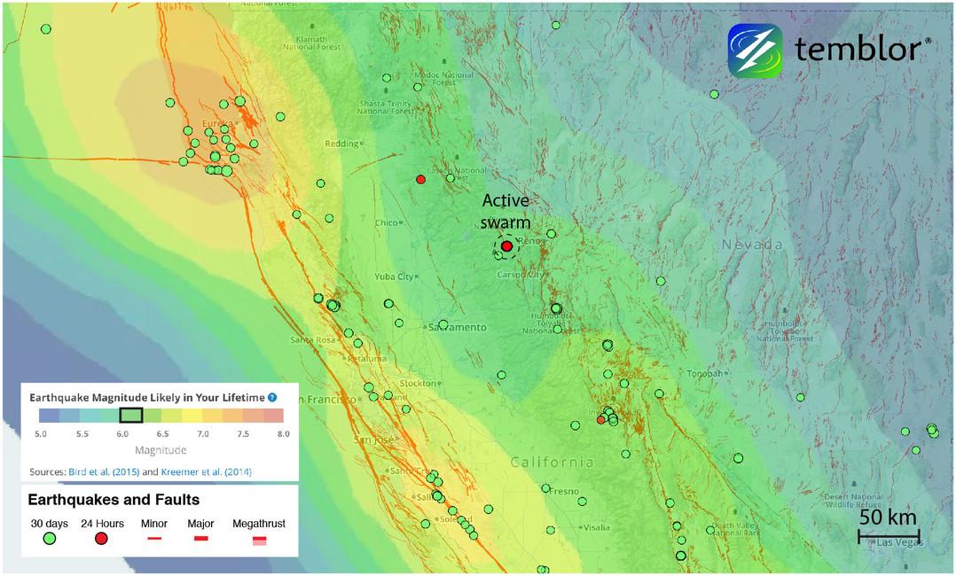 In progress seismic swarm west of Reno, Nevada