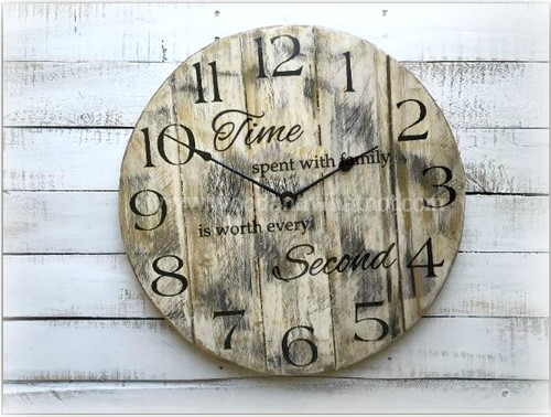 Round Pallet Clock with saying