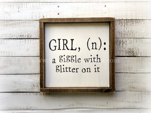 Girl, a giggle with glitter on it