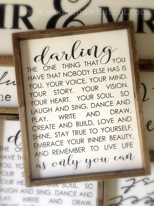Darling...live life only as you can
