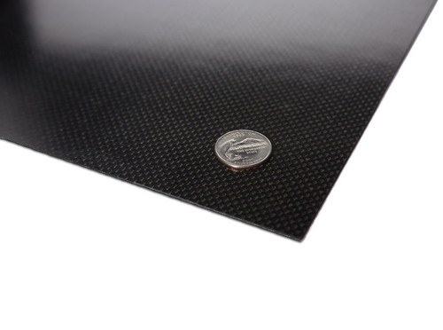 """Carbon fiber panel measures 9.0x11.875"""" 2.0mm.  This sheet is the perfect size for a custom 1/10th scale chassis or a rigid upper deck.  Can also be used for custom shock towers and many other parts."""