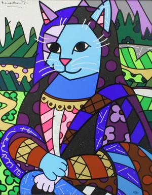 MONA CAT (ON GESSO BOARD) BY ROMERO BRITTO