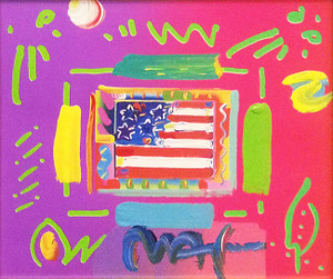 FLAG I (OVERPAINT) BY PETER MAX