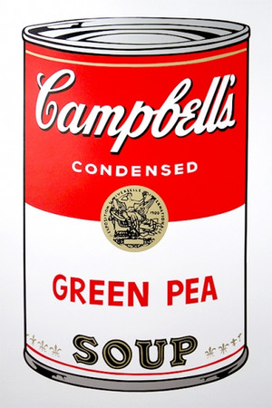 GREEN PEA - CAMPBELL SOUP CAN BY ANDY WARHOL FOR SUNDAY B. MORNING
