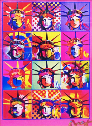 LIBERTY AND JUSTICE FOR ALL (OVERPAINT) BY PETER MAX