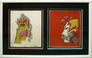 RETRO DIPTYCH (1970'S) BY PETER MAX