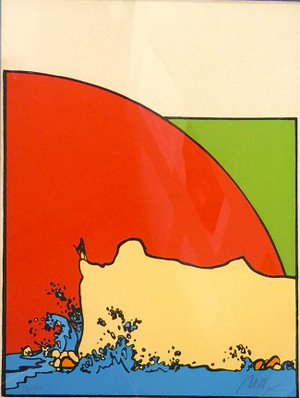 SAGE ON CLIFF (1970'S) BY PETER MAX