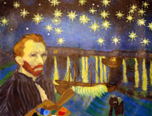 HOMAGE TO VAN GOGH - STARRY NIGHT BY THE BAY BY STEVE KAUFMAN
