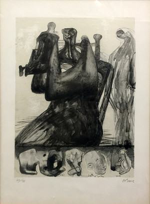 MOTHER AND CHILD WITH BORDER DESIGN BY HENRY MOORE