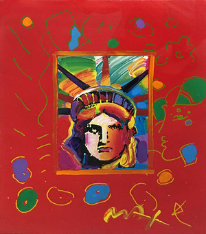 LIBERTY HEAD III (OVERPAINT) BY PETER MAX
