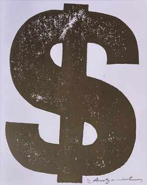 $ SINGLE DOLLAR SIGN (BROWN) FS II.277 BY ANDY WARHOL