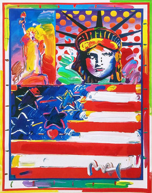 GOD BLESS AMERICA II (OVERPAINT) BY PETER MAX