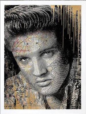 KING OF ROCK (ELVIS PRESLEY) GOLD BY MR. BRAINWASH