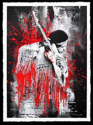 JIMI HENDRIX (RED) BY MR. BRAINWASH