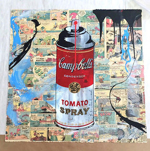 CAMPBELL'S TOMATO SPRAY COLLAGE (1/1) BY MR. BRAINWASH