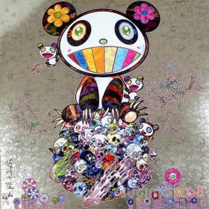 PANDA & PANDA CUBS/SKULLS (SHINY SILVER) BY TAKASHI MURAKAMI
