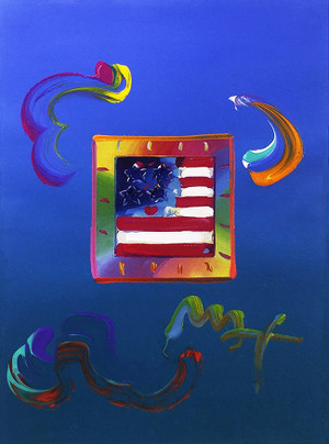 FLAG 5 (OVERPAINT) BY PETER MAX