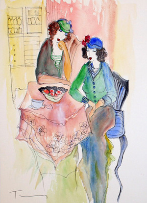 AT THE KITCHEN TABLE (WATERCOLOR) BY ITZCHAK TARKAY