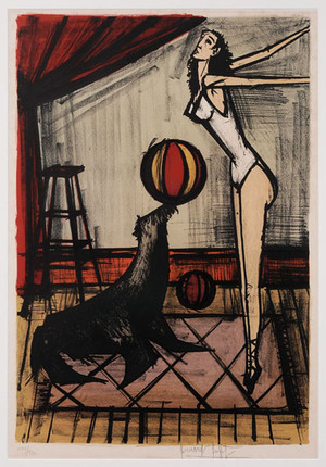 ACROBAT WITH SEAL BY BERNARD BUFFET