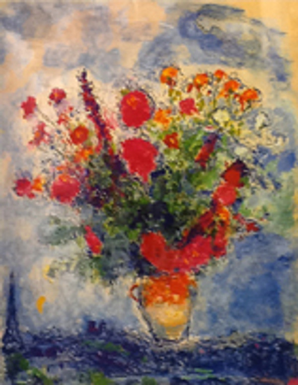 FLOWERS OVER CITY BY MARC CHAGALL