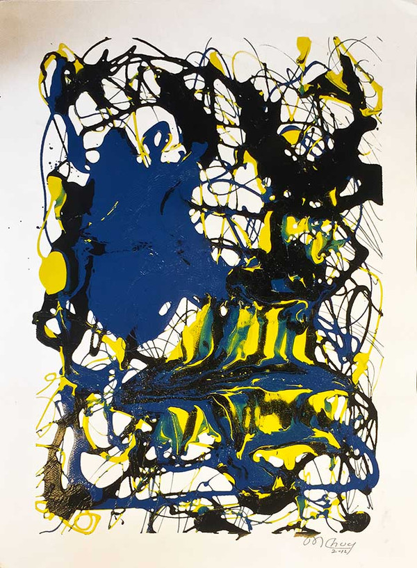 ABSTRACT (YELLOW, BLACK AND BLUE) BY MARIO CHUY