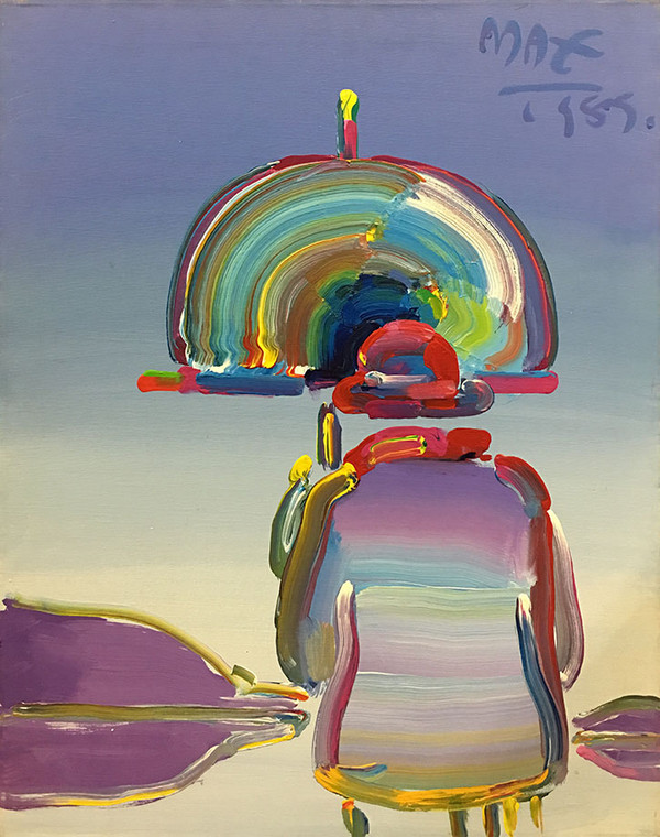 RAINBOW UMBRELLA MAN BY PETER MAX