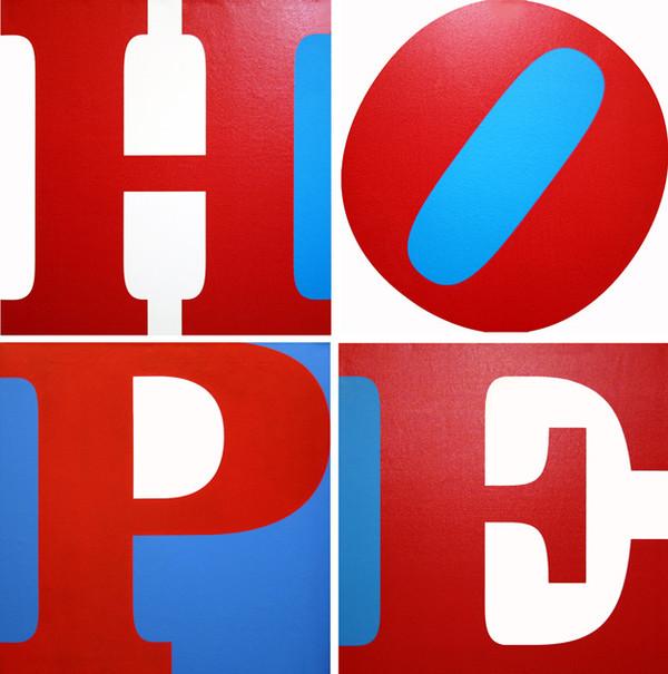 HOPE (R/W/B) (SUITE OF 4 PAINTINGS) BY ROBERT INDIANA