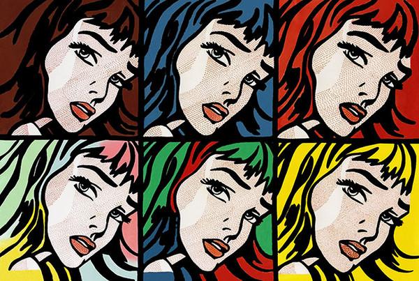 CRYING GIRLS (6) HOMAGE TO ROY LICHTENSTEIN BY STEVE KAUFMAN