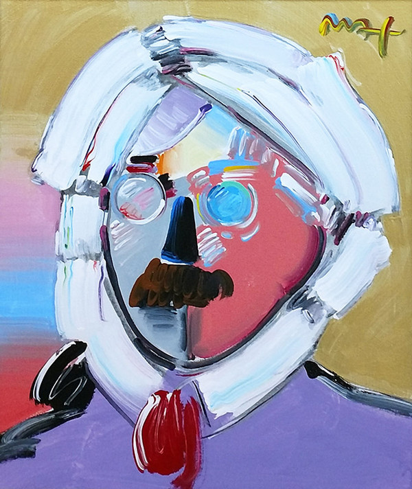 ANDY WITH MUSTACHE (PURPLE) BY PETER MAX