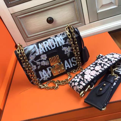 Christian dior flap bag with shoulder strap in black for Jardin japonais 78