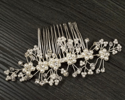 Cb flowers and crafts 5 silver bridal spray hair comb with rhinestone and pearl 1 headpiece junglespirit Images