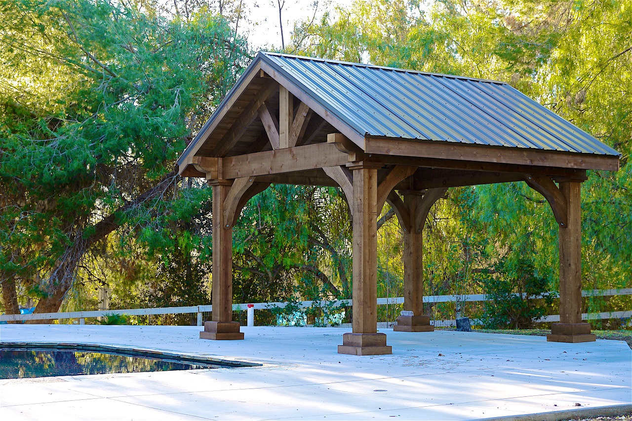 14x14 Grand Cedar Pavilion, Rough Sawn Western Red Cedar, Walnut Stain, Thousand Oaks, CA.  This model, like all our models, is available in any size, shipped to you as a ready to assemble kit.