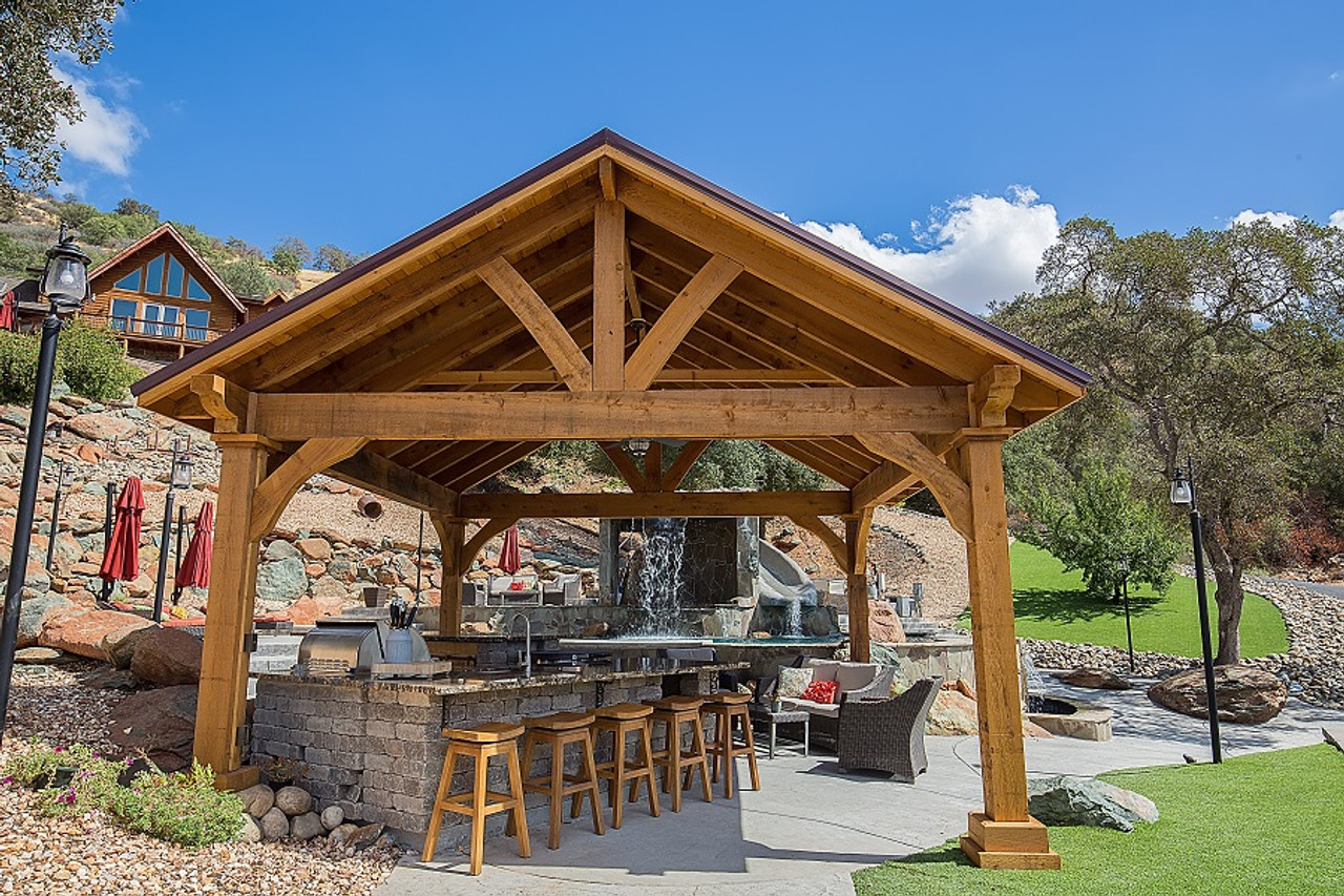 17x17 Grand Cedar pavilion, rough sawn Western Red Cedar, Maple color Stain, Copperopolis, CA (half hour east of Stockton, CA)